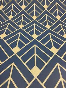 Details About Rasch Diamond Geometric Wallpaper Navy Blue Gold Glitter Shimmer 3d Effect