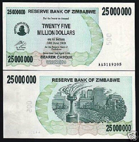 ZIMBABWE 25000000 25,000,000 DOLLARS P56 2008 AA 25 MILLION UNC MONEY BANKNOTE