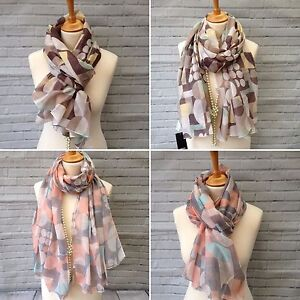 BNWT ladies womens viscose brown soft Winter floral scarf pashmina wrap shawl
