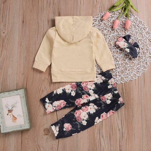 Newborn Kids Baby Girl Hooded Coat Sweatshirt Floral Pants Headwear Outfits Set