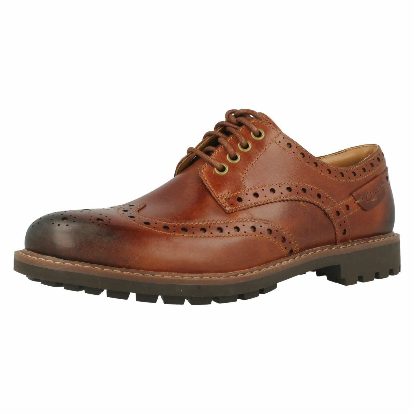 Mens Clarks Montacute Wing Dark Tan Leather Casual Lace Up Brogue shoes