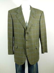 BRIONI-Mens-Cashmere-Jacket-Size-57-de-Green-Blue-Check-MINT-CONDITION-R-3418