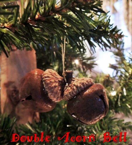 Mini RUSTIC WOODLAND DOUBLE ACORN BELL CHRISTMAS ORNAMENT PRIMITIVE Gold Hanger