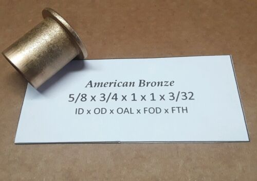 "AMERICAN BRONZE 5//8/""x 3//4/""x 1/""Bronze Flanged Bushing Qty 1pc Made In USA"