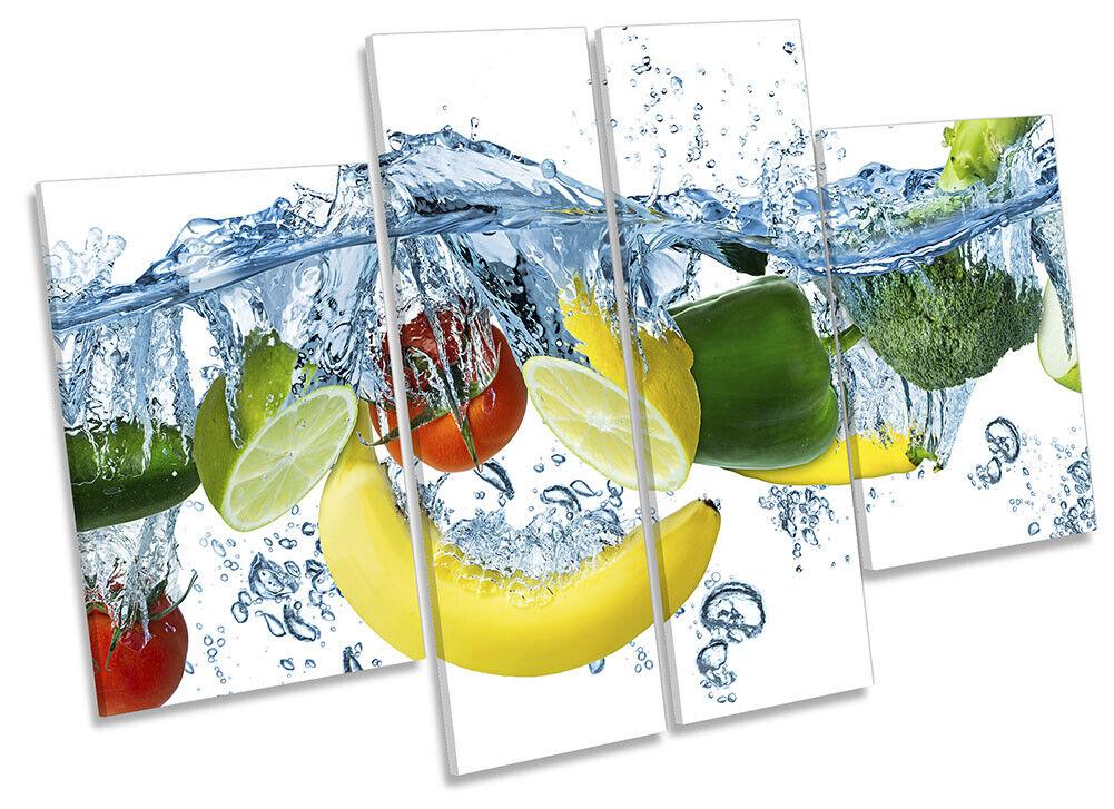 Fruit Water Splash Kitchen Print CANVAS WALL ART Four Panel Multi-Colourot