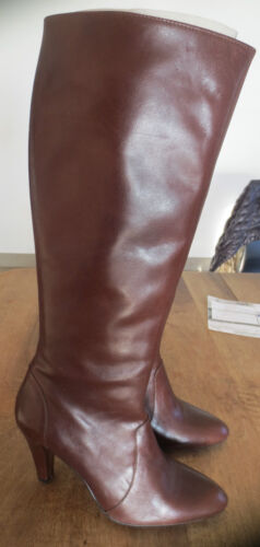 Leather boots M by M Palos brown new value 179TH stem 39cm heel 9cm point 41