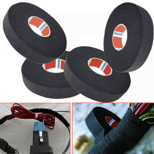 4Pcs 19mm x 25M Looms Wiring Harness Adhesive Cloth Fabric Tape Cable Protectio