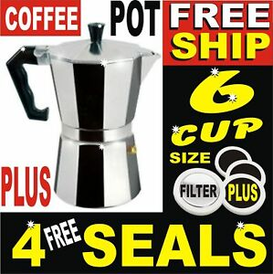 6-CUP-ITALIAN-COFFEE-PERCULATOR-STOVE-TOP-CAST-ALUMINIUM-GROUND-COFFEE-POT-LATTE