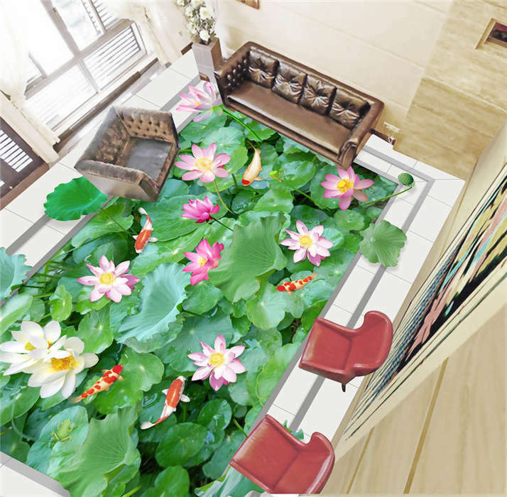 Lotus Leaves Goldfish 3D Floor Mural Photo Flooring Wallpaper Home Wall Decal