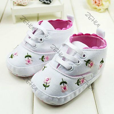 Kids Baby Girl White Anti-slip Lacing Prewalkers Newborn Shoes Cloth Shoes