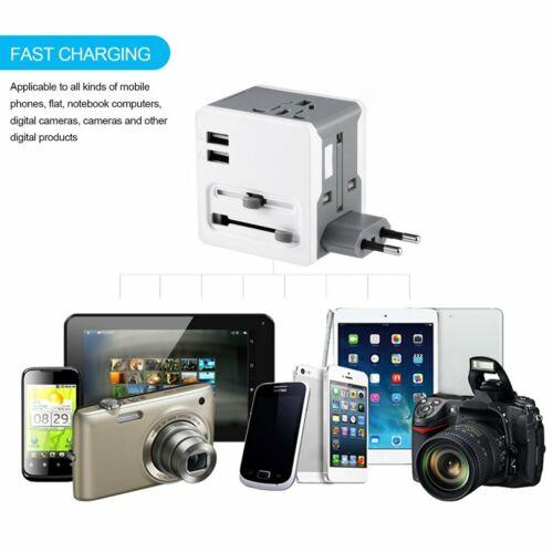 International World Wide Universal Travel Plug Multi Charger Adapter 2 USB IE
