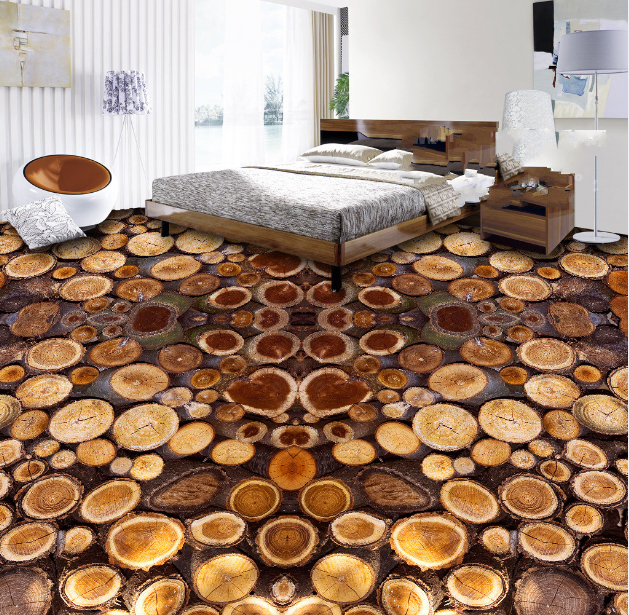 3D Round braun Wood 74 Floor WallPaper Murals Wall Print Decal AJ WALLPAPER US