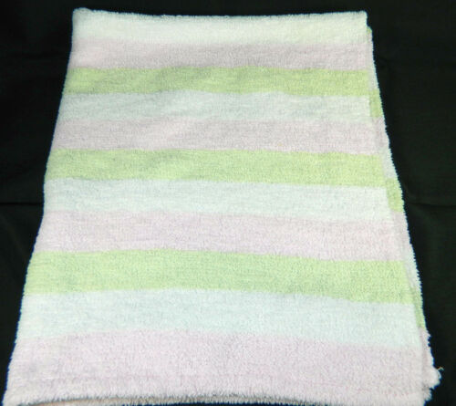 Carters Pastel Stripe Green White Pink Chenille Baby Blanket Ex. Condition