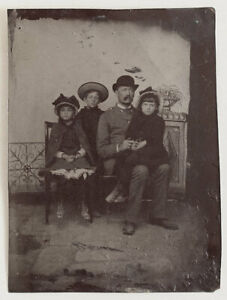 Original-1880s-tintype-father-and-his-three-daughters-England