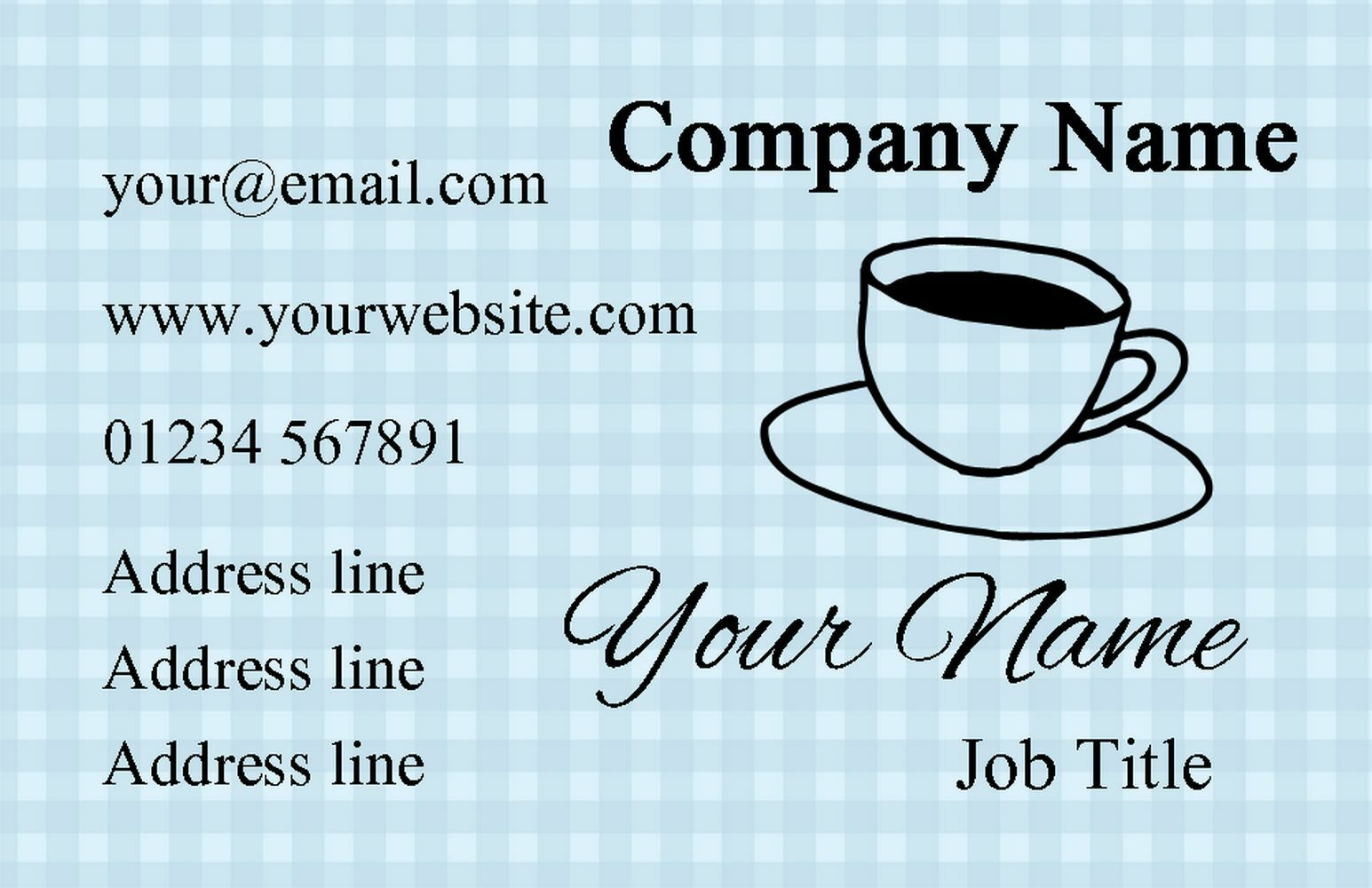 blu GINGHAM caffè personalizzata business business business cards c4bf6d