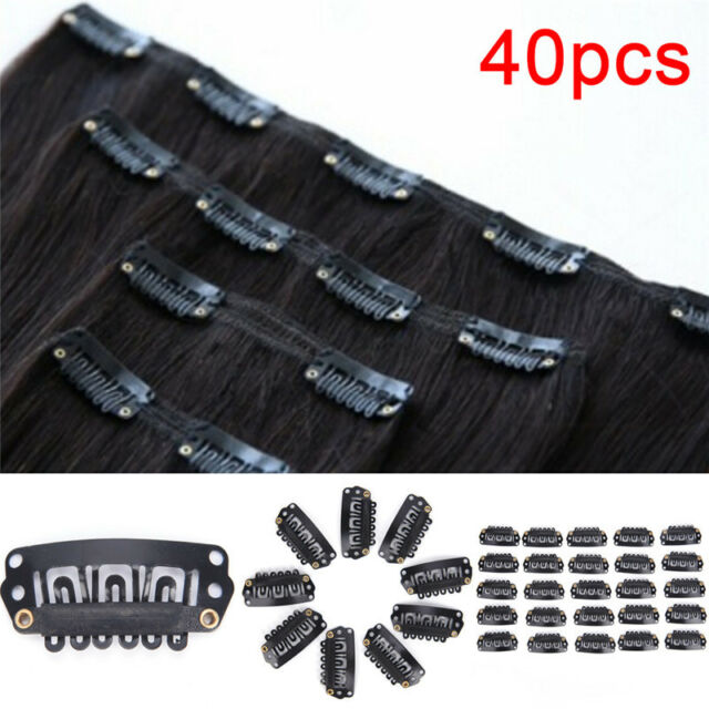 40pcs U Shape Steel Snap Clips For Feather Hair Extensions Wigs Weft