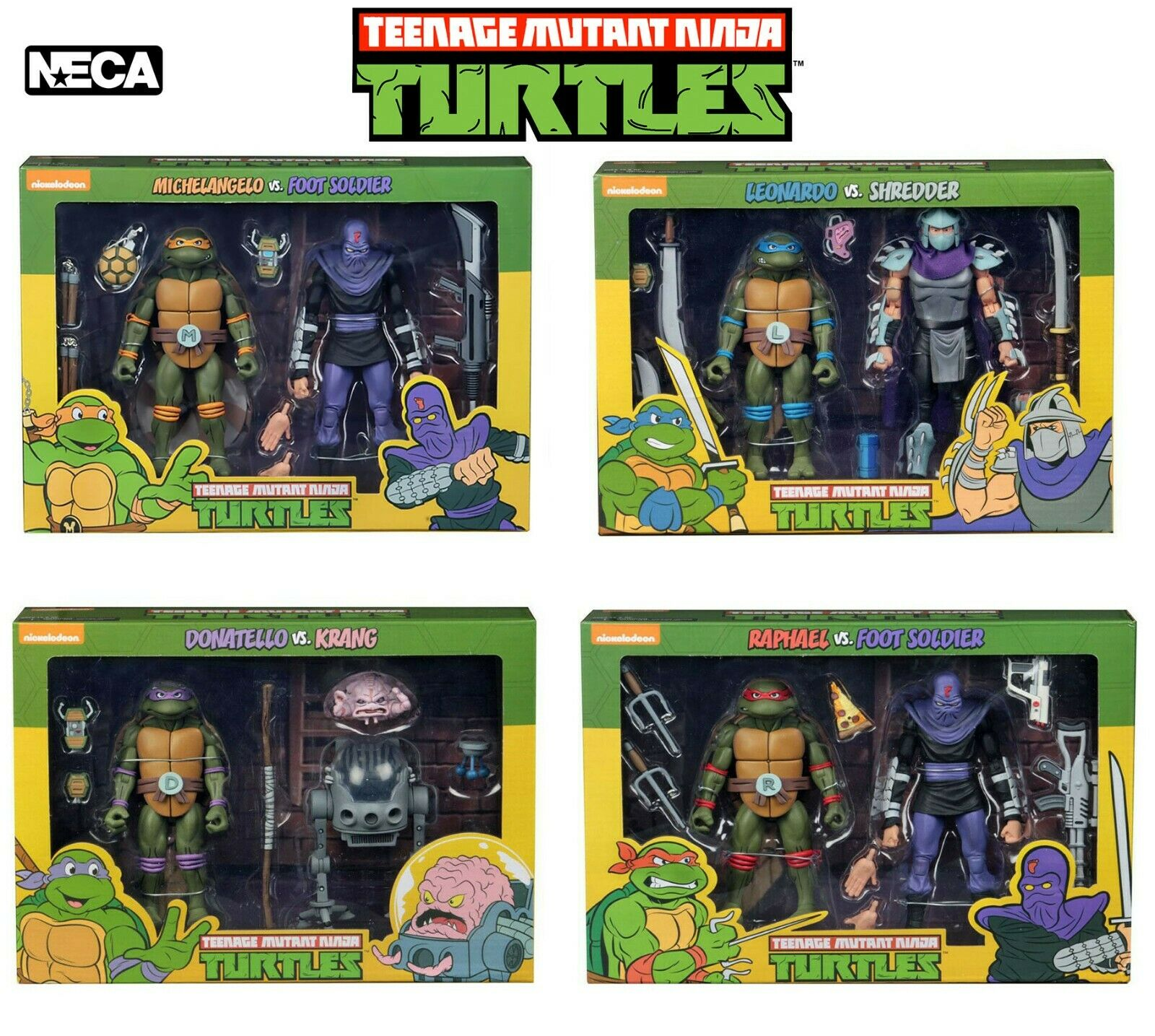 NECA Teenage Mutant Ninja Turtles 2 Pack 7  Action Figures Official UK New TMNT