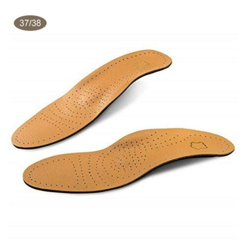 Leather Shoe Insoles Foot Support Flat High Arch Orthopedic Cushion Pain Pads