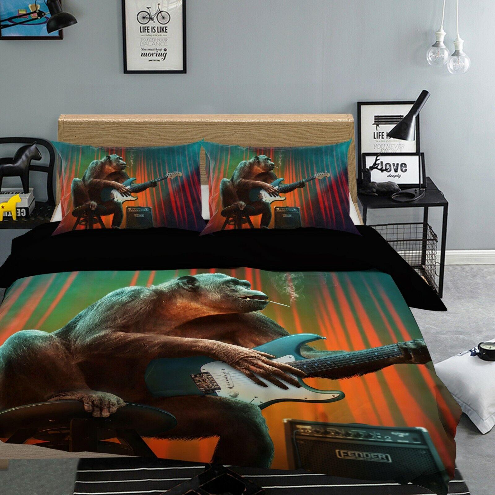 3D Gorilla Music B74 Animal Bed Pillowcases Quilt Duvet Cover Queen King Wendy