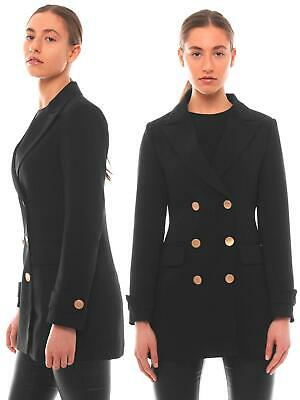 Women Ladies Padded Lined Zipped Blazer Tailored Jacket Coat Size 8 10 12