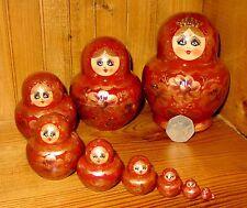 Russian Nesting Doll 10 Burgundy GOLD Babushka Matryoshka SIMAKOVA signed