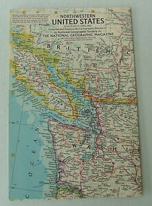 VINTAGE NATIONAL GEOGRAPHIC MAP OF THE NORTHWESTERN UNITED STATES ...