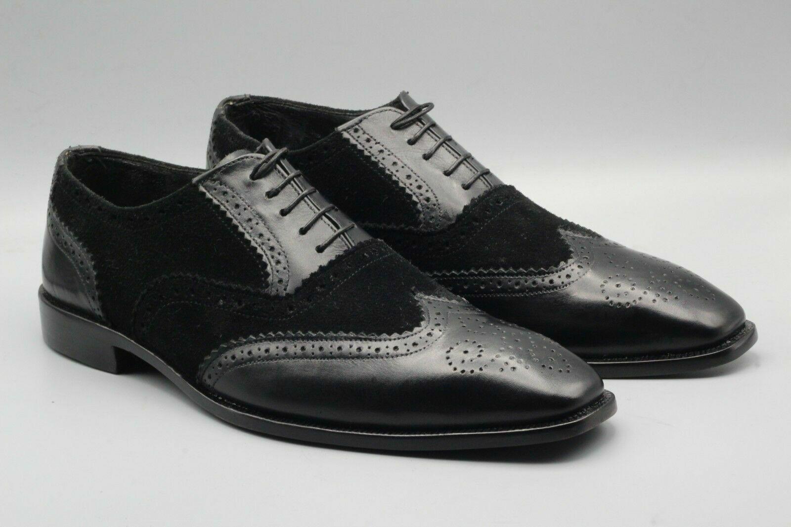 Handgefertigter zweifarbiger schwarzer Leder & Wildleder Oxford Brogue Schuh