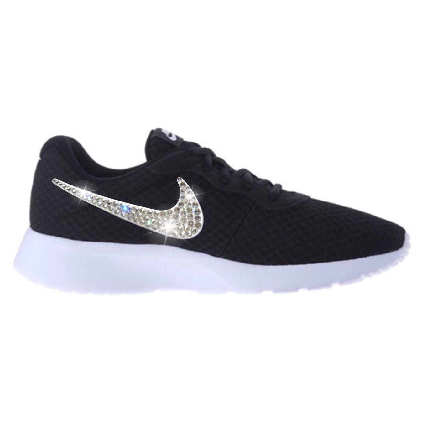 Bling Nike Tanjun Shoes with Swarovski Crystal Diamond Rhinestone - Black White