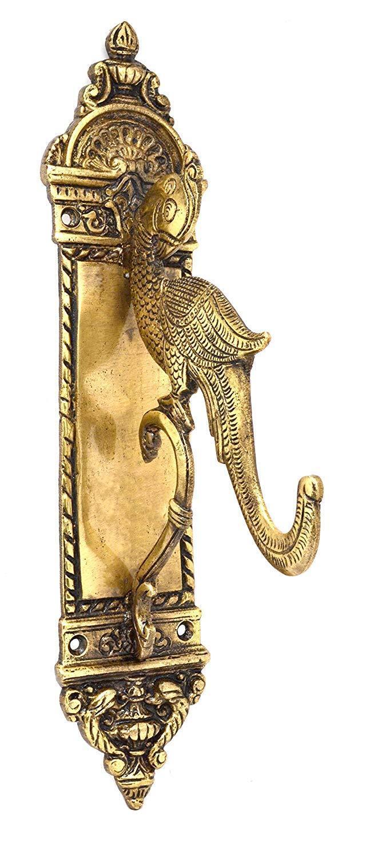 Brass Brass Brass Traditonal Parrot Design Diya Holder Statue Wall Decor Sculpture 772229