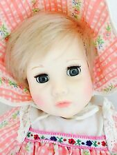 "22"" Vintage 1994 Susan Gibson Vinyl Baby Girl Doll Cloth Body Blonde/blue C5"