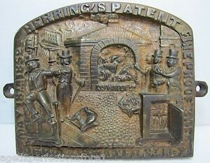 Antique-Herring-039-s-FireProof-Safe-Bronze-Plaque-pat-1852-New-York-ornate
