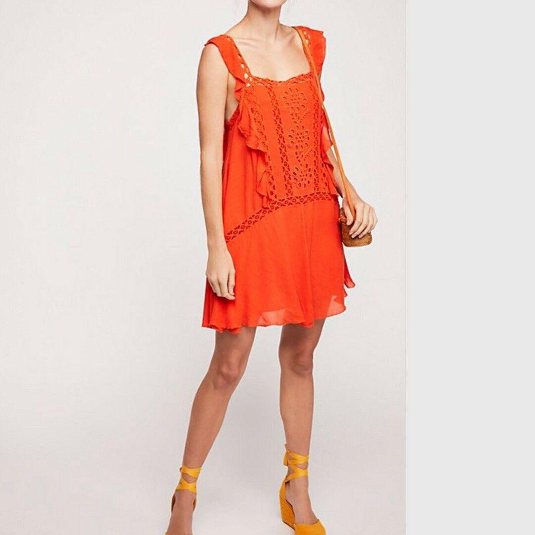 NWT Free People Priscilla Ruffled Crochet Trim Coral Mini Dress Large L
