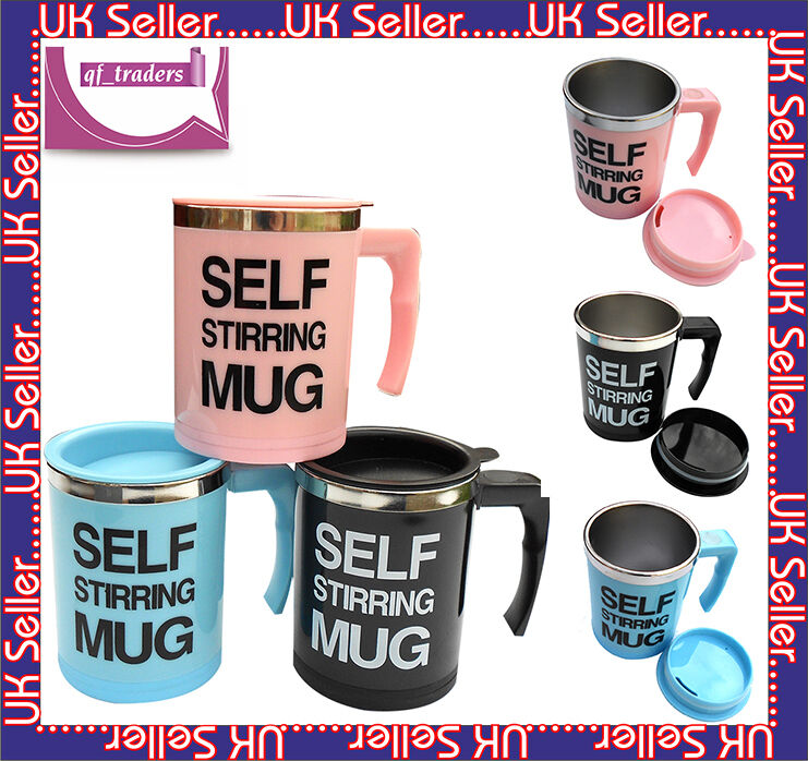 INSIDE STAINLES  STEEL AUTO STIRRING TEA COFFEE MUG WORK OFFICE GIFT UK