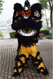 Black-Lion-Dance-Mascot-Costume-Suit-Chinese-Folk-Art-Wool-Southern-Two-Adults