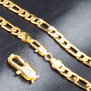 18k-Yellow-Gold-Mens-Womens-18-034-Figaro-Wide-8mm-Link-Chain-Necklace-wGiftPk-D292
