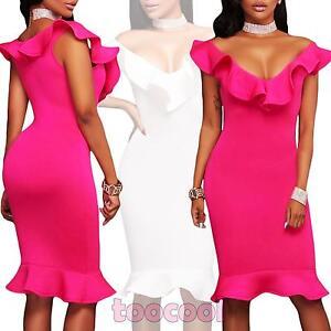 Vestito-donna-miniabito-abito-scollato-aderente-elegante-volants-nuovo-DL-2091