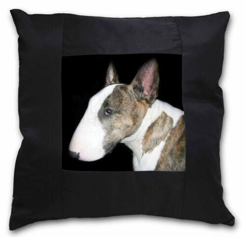 AD-BUT7-CSB A Beautiful Brindle Bull Terrier Black Border Satin Feel Cushion Co
