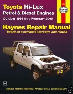 new haynes repair workshop manual toyota hilux 97 05 ebay rh ebay co uk toyota hilux workshop manual pdf toyota hilux workshop manual pdf