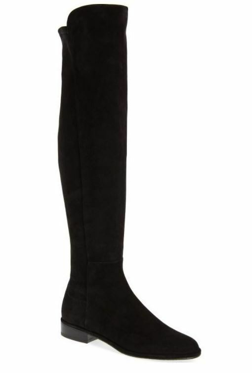 Stuart Weitzman Women's Allgood Suede Over-The-Knee Boots Black Size 10