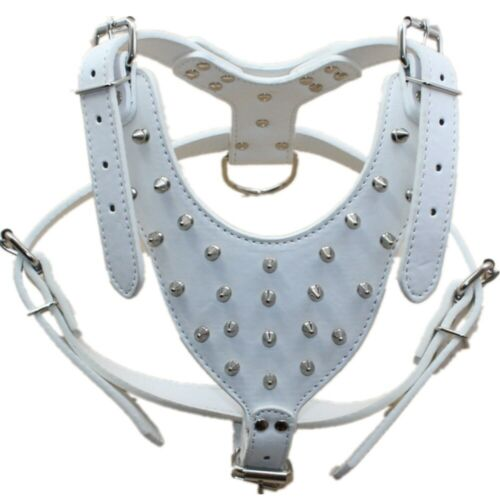 Spiked Studded Leather Dog Harness For Large Dog Pitbull Bully Husky Boxer