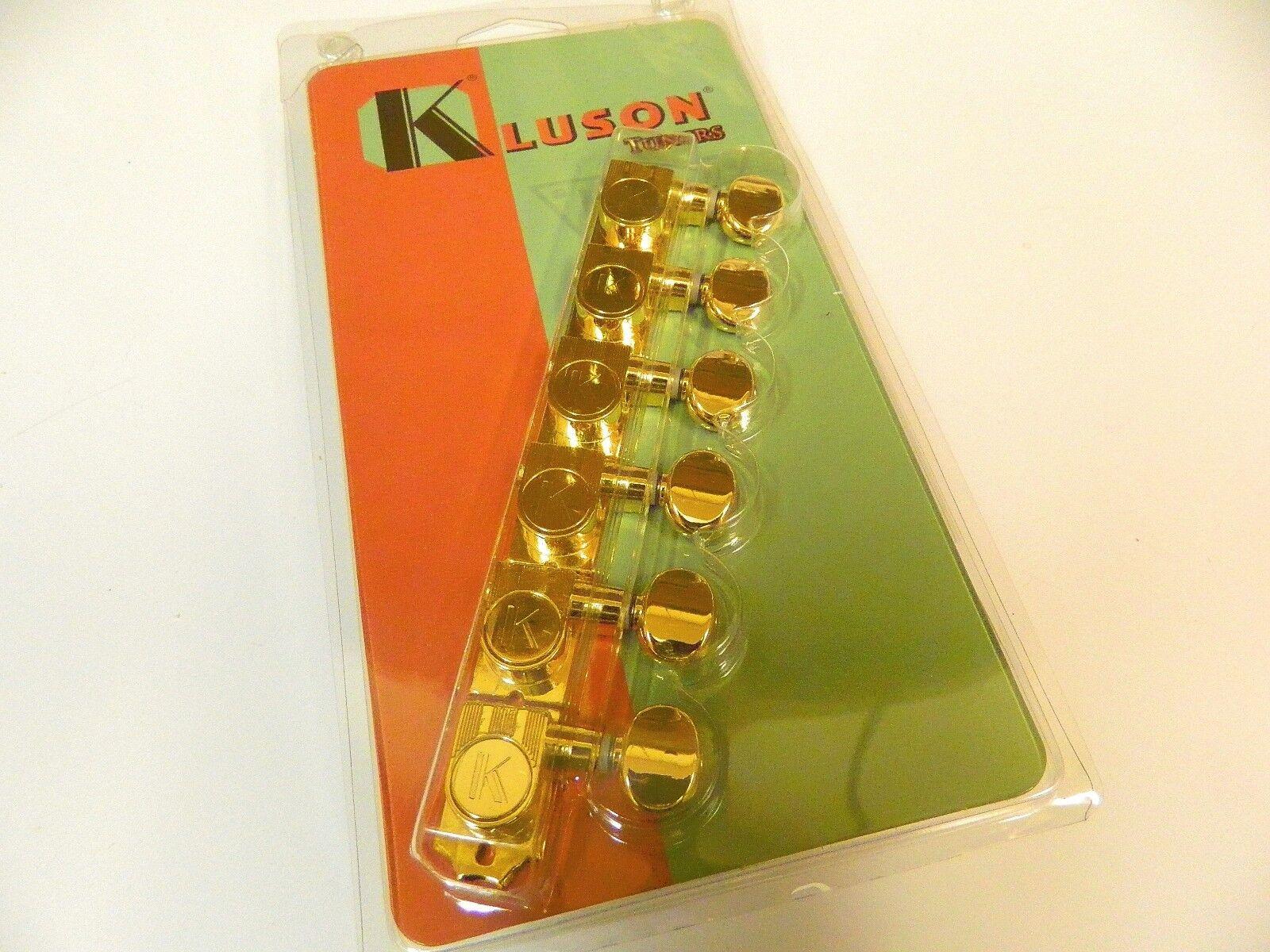 KLUSON  REVOLUTION KTNC-3805GL H MOUNT 6 INLINE NO COLLAR TUNERS GOLD