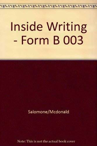 Inside Writing: A Writer's Workbook : Form B - Paperback - GOOD