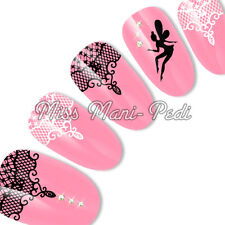 Nail Art Water Transfers Decals Stickers Black White Lace Tinkerbell Fairy S052