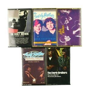 Lot-of-5-Pop-Rock-Everly-Brothers-Cassette-Tapes-Best-of-Reunion-Home-Again