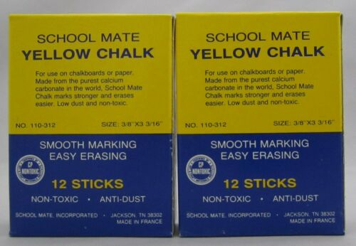 2 Boxes Vintage Yellow Chalk for Blackboard Made in France School Mate Low Dust