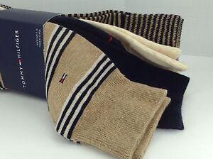 Men-039-s-TOMMY-HILFIGER-Brown-Beige-STRIPED-73-COTTON-Dress-Socks-4-Pack-36-MSRP