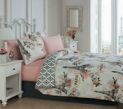 French Poodles In Paris Eiffel Tower Twin Comforter Set 6 Piece Bed In A Bag