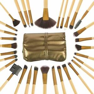 Miss & Mam Makeup Brushes With Golden Leather Pouch Set of 32 pcs