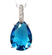 Swarovski Elements Crystal Sterling Silver Waterdrop Pendant Necklace Chain C11