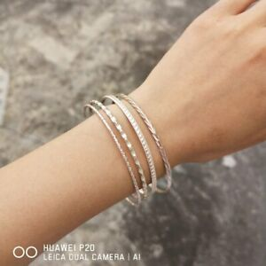 Women-Rose-Gold-Metal-Bangle-Cuff-Charm-Bracelet-Fashion-Jewelry-Set-Gifts